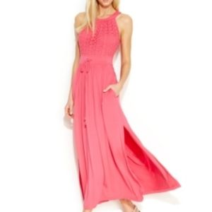 NWOT Calvin Klein Flamingo Coral Maxi Dress